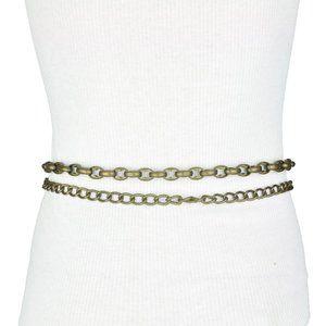 BCBG Beige Faux Leather Double Chain Belt
